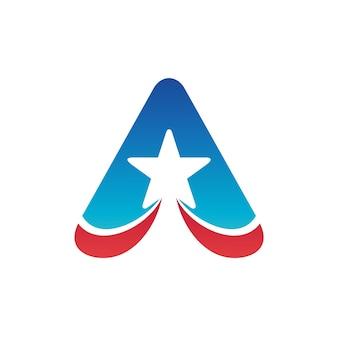 Letra a com modelo de logotipo de estrela