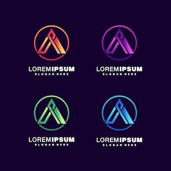 Letra a conjunto de logotipo colorido