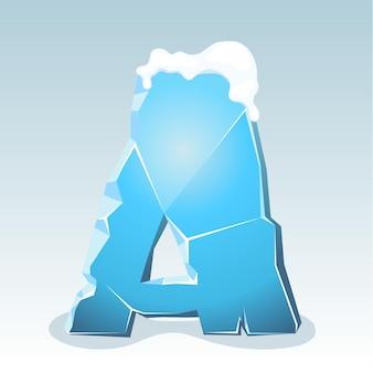 Letra a de gelo com neve no topo, fonte de vetor