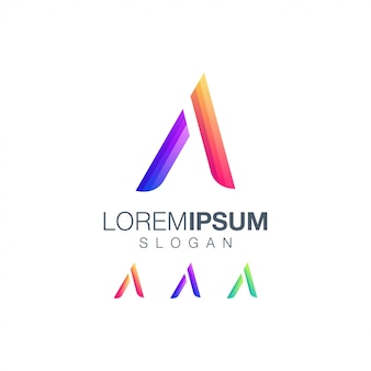 Letra a design de logotipo de cor gradiente
