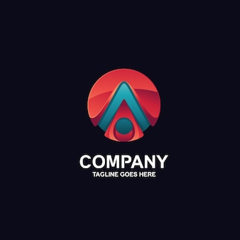 Letra a em logotipo de design 3d