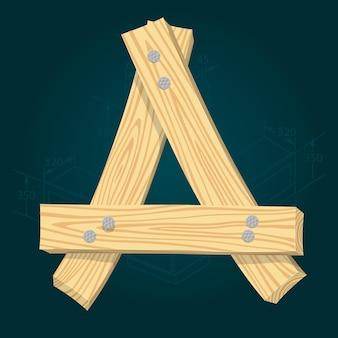 Letra a - fonte estilizada de vetor feita de pranchas de madeira marteladas com pregos de ferro.