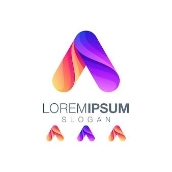 Letra a gradiente cor logotipo projeto vector