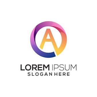 Letra a ilustração do logotipo gradiente abstrato colorido