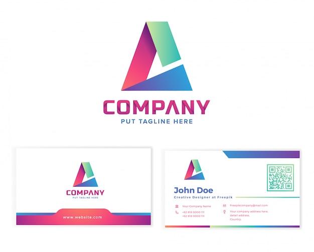 Letra a logotipo com cartão de visita de papelaria