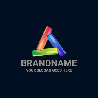 Letra a logotipo triângulo colorido modelo de design