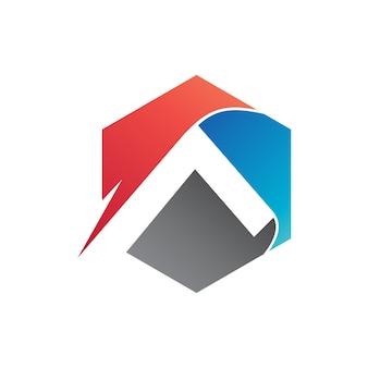 Letra a no logotipo hexagonal vector