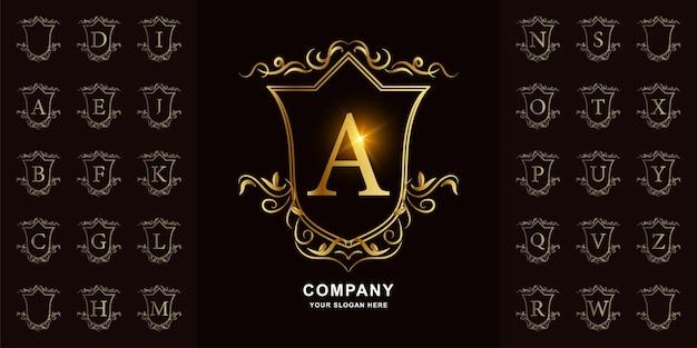 Letra a ou alfabeto inicial de coleção com modelo de logotipo dourado moldura floral ornamento de luxo.