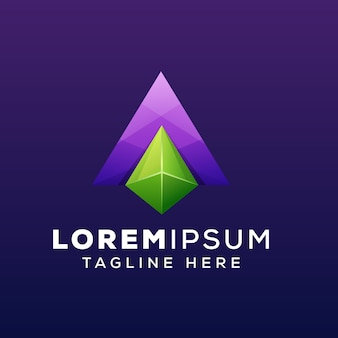Letra a ou triângulo jóias gemas logotipo ou logotipo