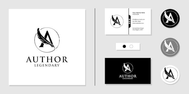Letra a para inspiração do logotipo do autor e modelo de design de cartão de visita