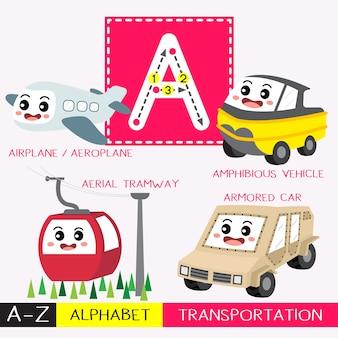 Letra a vocabulário de transporte de traços de letras maiúsculas