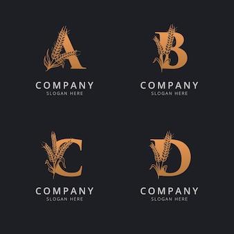 Letra abc e d com modelo de logotipo abstrato de trigo