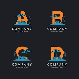 Letra abc e d com modelo de logotipo de praia abstrato Vetor Premium