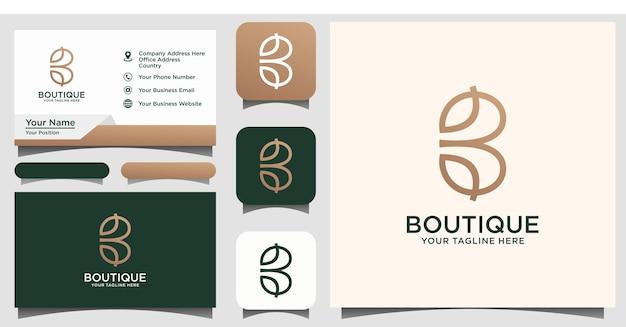 Letra abstrata b design de logotipo de folha combinada premium vector