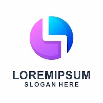 Letra abstrata colorida s com logotipo quadrado