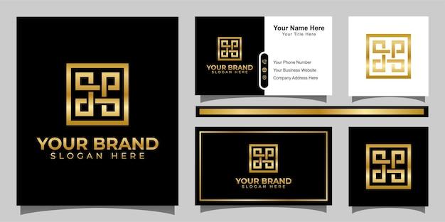 Letra abstrata dp logotipo de luxo com elemento quadrado e design de cartão de visita