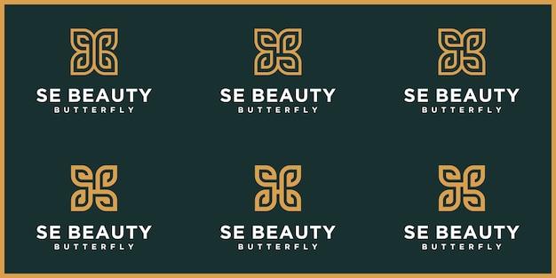 Letra abstrata se, logotipo s, borboleta dourada, logotipo de beleza