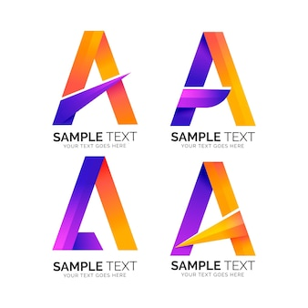 Letra alfabética uma coleção de logotipo