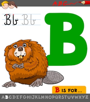 Letra b com castor de desenho animado