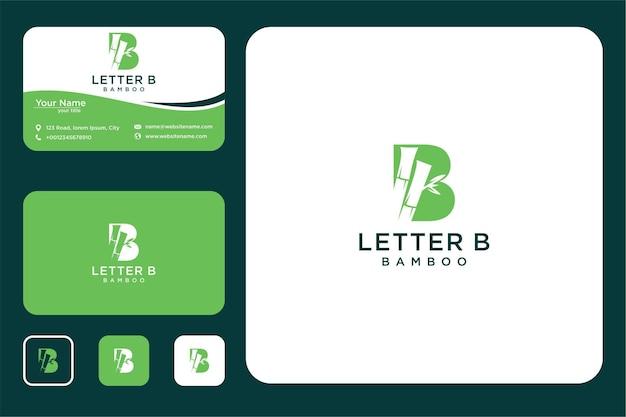 Letra b com design de logotipo de bambu e cartão de visita