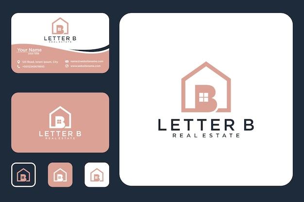 Letra b com design do logotipo da casa e cartão de visita