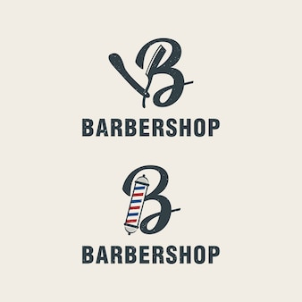 Letra b com modelo de logotipo de elementos de barbearia