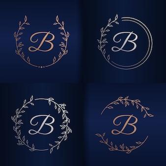 Letra b com modelo de logotipo floral