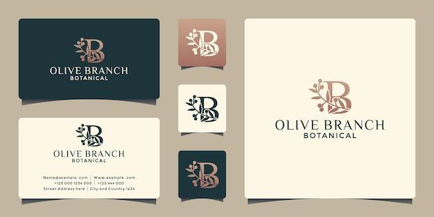 Letra b criativa com modelo de design de logotipo de ramo de oliveira para seu salão de negócios, spa, cosméticos, etc.