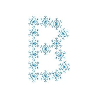 Letra b de flocos de neve. fonte ou decoração festiva para o ano novo e o natal