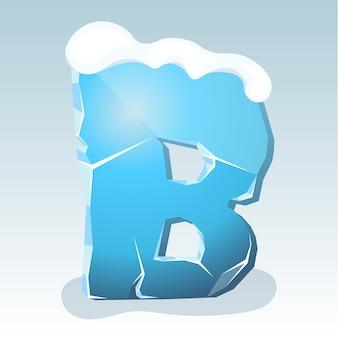 Letra b de gelo com neve no topo, fonte de vetor
