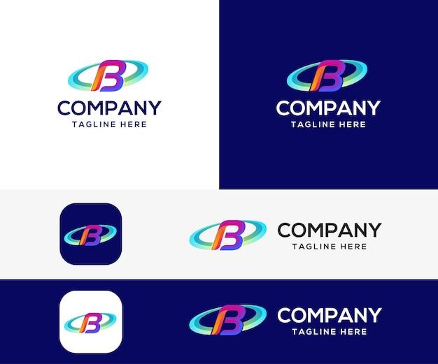 Letra b design de logotipo colorido em 3d