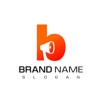 Letra b, design do logotipo do alto-falante para o símbolo da empresa de publicidade