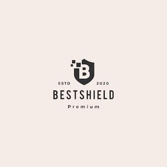 Letra b escudo pixel digital logotipo ícone hipster vintage retrô