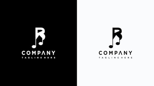 Letra b música logo design premium vector