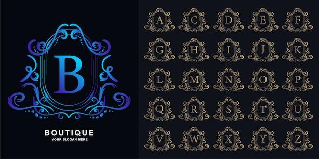 Letra b ou alfabeto inicial de coleção com modelo de logotipo dourado moldura floral ornamento de luxo.