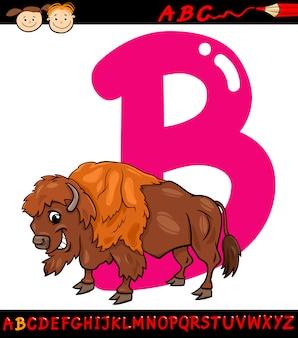 Letra b para ilustração de desenho de bisonte
