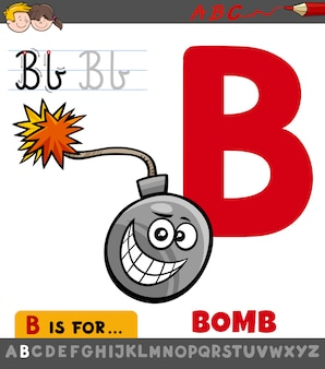 Letra b planilha com objeto de bomba dos desenhos animados