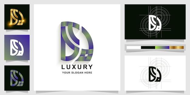 Letra bea ou modelo de logotipo de monograma a com design de cartão de visita