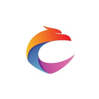 Letra c águia forma logo vector