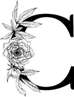 Letra c. alfabeto floral, alfabeto botânico Vetor Premium