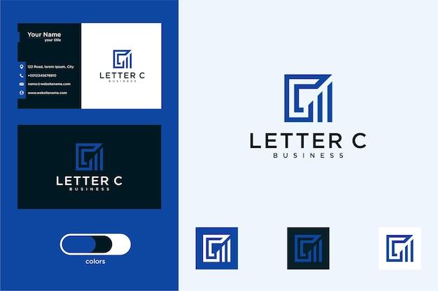 Letra c com a construção de design de logotipo e cartão de visita
