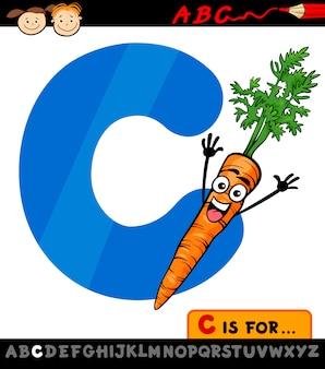 Letra c com cenoura ilustração dos desenhos animados