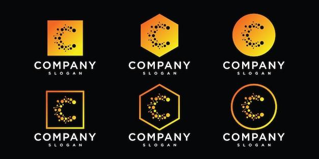 Letra c com círculo de ponto conectado como design de logotipo de rede