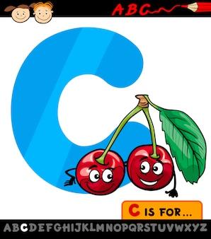 Letra c com ilustração de cerejeira