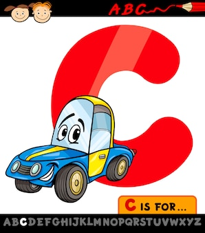 Letra c com ilustração de desenho animado de carro