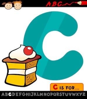 Letra c com ilustração de desenho de bolo