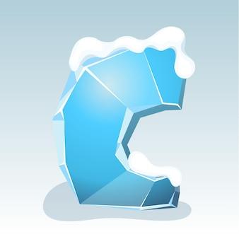 Letra c de gelo com neve no topo, fonte de vetor