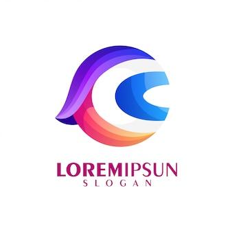 Letra c design de logotipo colorido