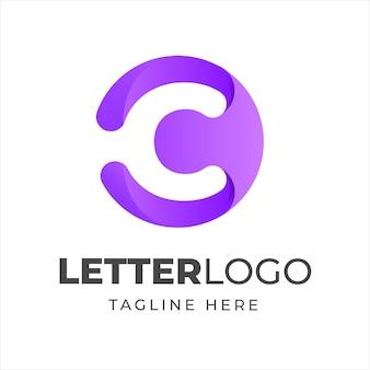 Letra c design de logotipo com forma de círculo