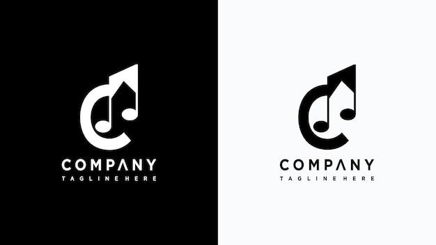 Letra c design de logotipo de música vetor premium
